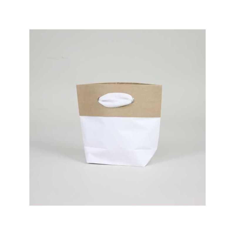 Sac papier personnalisé Ciment 15x8x20 CM | SAC PAPIER CIMENT PREMIUM | IMPRESSION EN SÉRIGRAPHIE SUR UNE FACE EN DEUX COULEURS